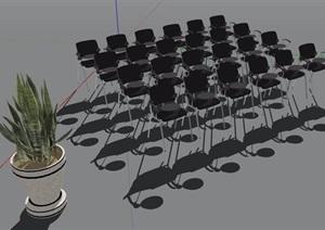 会议室椅子组合及盆栽SU(草图大师)模型