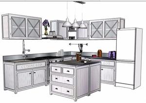 现代风格中岛厨房设计SU(草图大师)模型