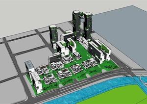 水平楼板出挑体块堆叠穿插创意绿色生态高层办公楼创业产业园区