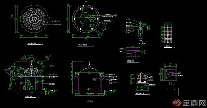 欧式装置凉亭完整详细传动cad施工图设计盘设计磨机的铁花cad图片