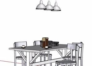 现代风格餐桌椅及餐厅吊灯设计SU(草图大师)模型