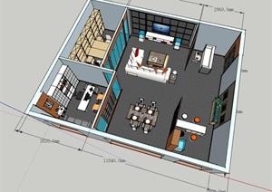 售楼部接待室兼办公招待室内精细设计