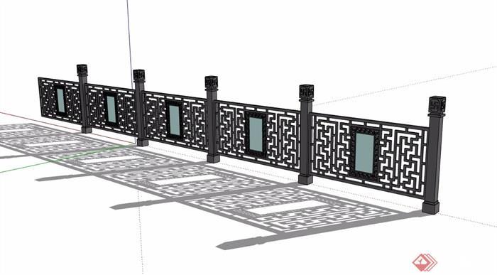 中式镂空栏杆设计素材su模型