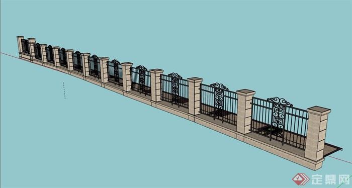 围墙栏杆素材设计su模型
