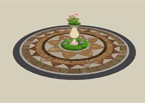 地面铺装及花钵素材设计SU(草图大师)模型