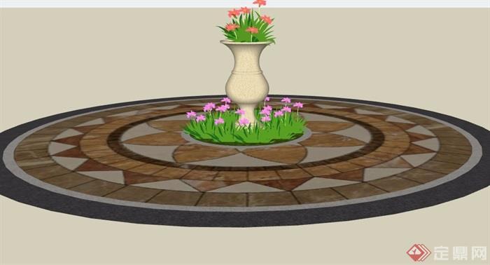 地面铺装及花钵素材设计su模型
