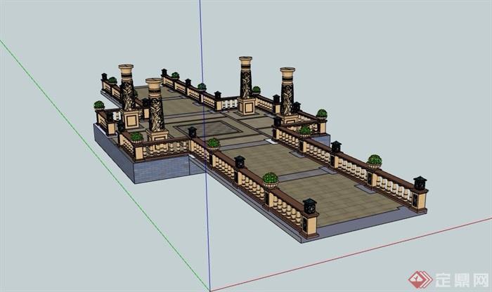 铺装,栏杆围栏及景观柱素材设计su模型