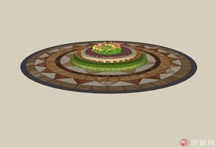 圆形花坛花池及地面铺装设计su模型