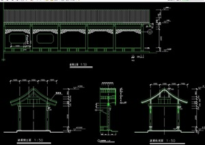 古典中式风格长廊设计cad施工图