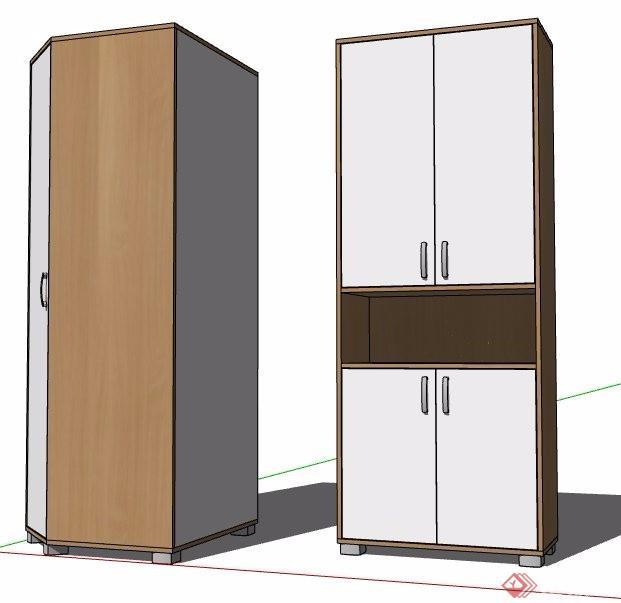 两款现代风格衣柜储物柜设计su模型