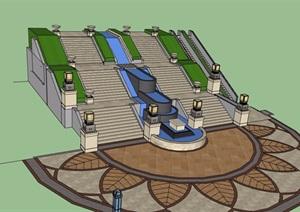 园林景观楼梯踏步素材设计SU(草图大师)模型