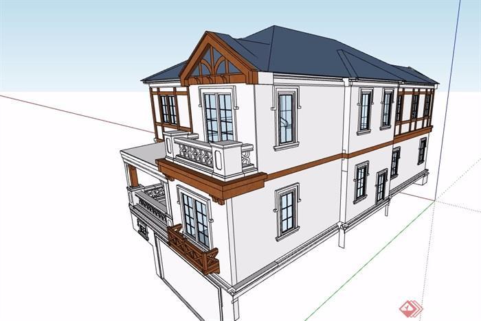 两层欧式风格详细的多层别墅设计su模型