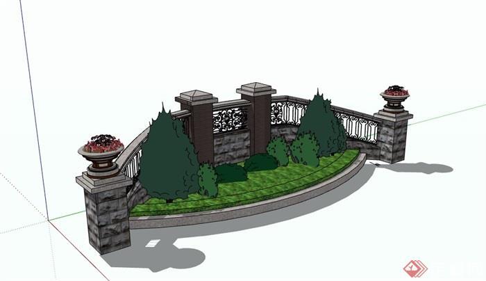 欧式详细的完整花池栏杆设计su模型