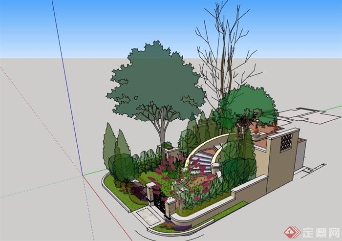 别墅小庭院景观素材设计su模型