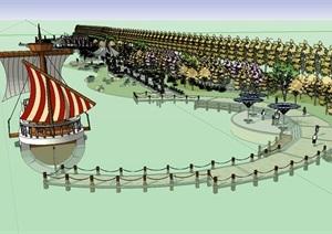 滨河公园沿河景观详细规划设计SU(草图大师)模型设计方案