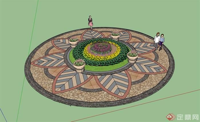 详细的圆形花池素材设计su模型