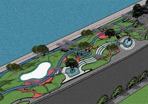 滨水临湖市民休闲运动儿童游乐绿地公园景观步道