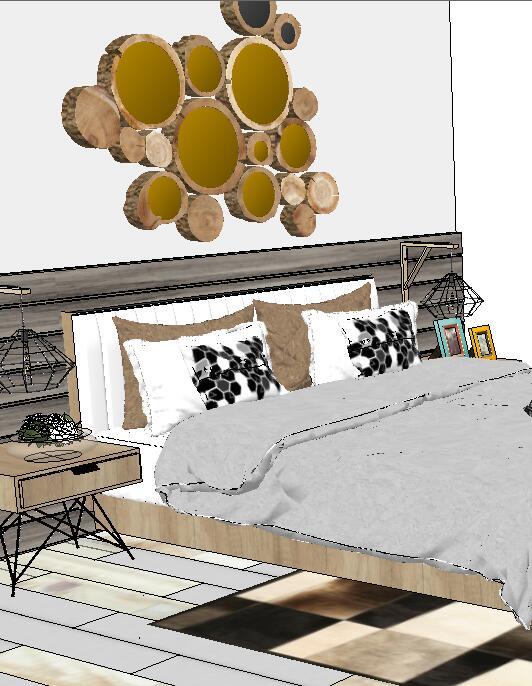 卧室详细设计方案su模型(3)