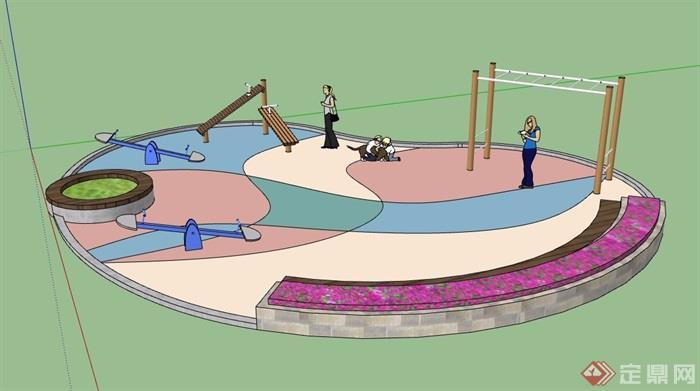 详细完整的游乐场地设计su模型