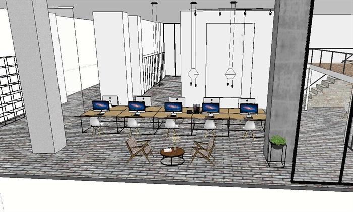 现代风格办公室详细设计su方案(1)