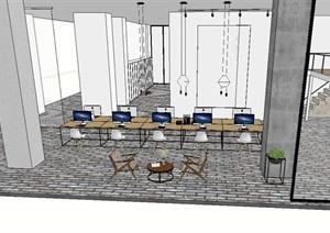 现代风格办公室详细设计SU(草图大师)方案