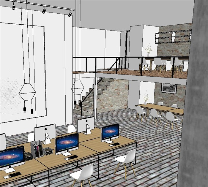 现代风格办公室详细设计su方案(2)