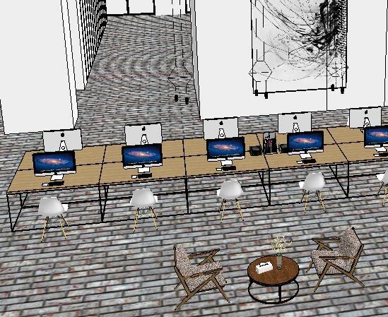 现代风格办公室详细设计su方案(3)
