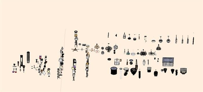 灯具详细设计su模型集合(1)