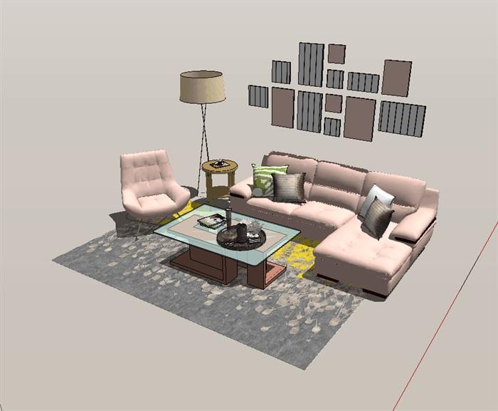 现代风格客厅室内设计详细su模型(1)