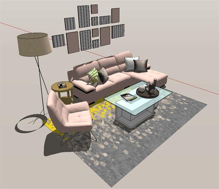 现代风格客厅室内设计详细su模型(3)