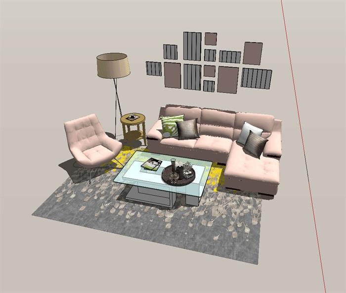 现代风格客厅室内设计详细su模型(4)
