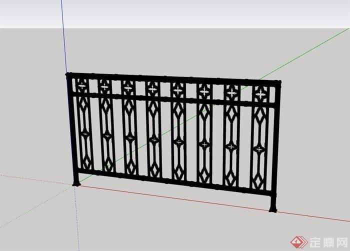现代铁艺围栏素材设计su模型