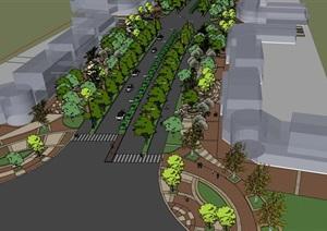 人行休闲步道景观铺地设计结合建筑小品