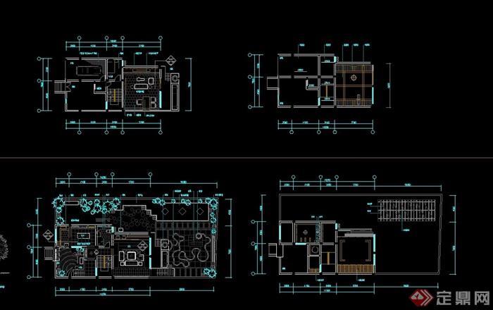 川西民居风格独栋别墅室内cad施工图