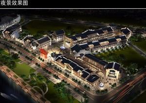 川西民居风格的商业街cad施工图及效果图