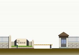 自贡一住宅小区次入口LOGO墙详图,效果图,模型