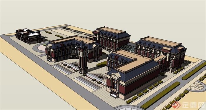 欧式学校详细多层教学楼su模型,模型包含大门及钟塔素材设计,模型整体绘制详细完整,模型细节处理得当详细完整,欢迎下载使用。