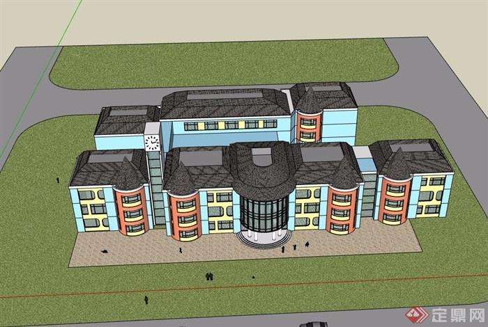 详细多层详细的幼儿园教学楼su模型