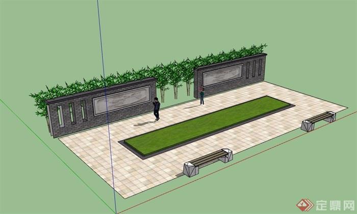 中式详细的砖砌景墙设计su模型