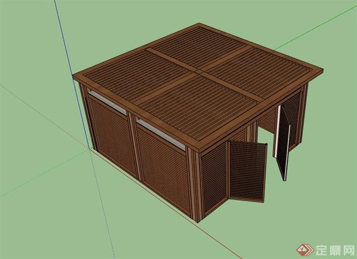 防腐木质玻璃廊亭设计su模型