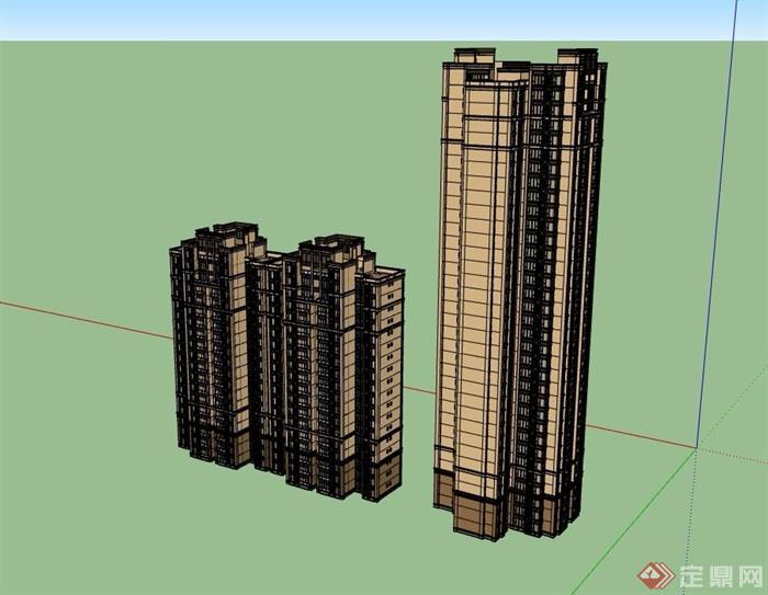 两栋高层新古典住宅楼su模型