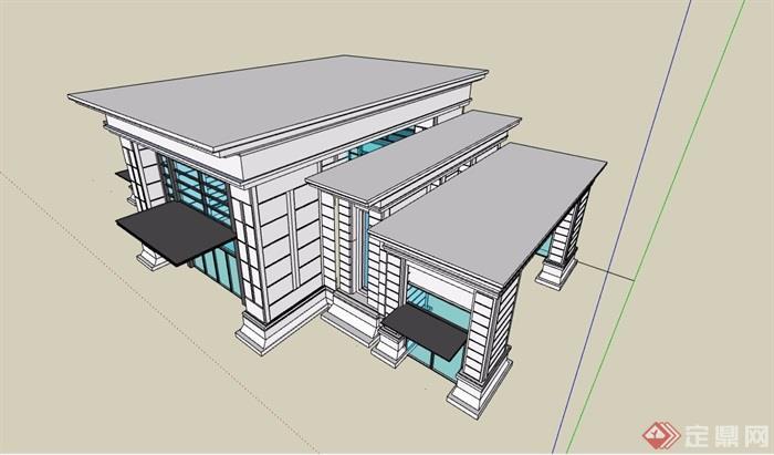 现代简单单层售楼处建筑su模型