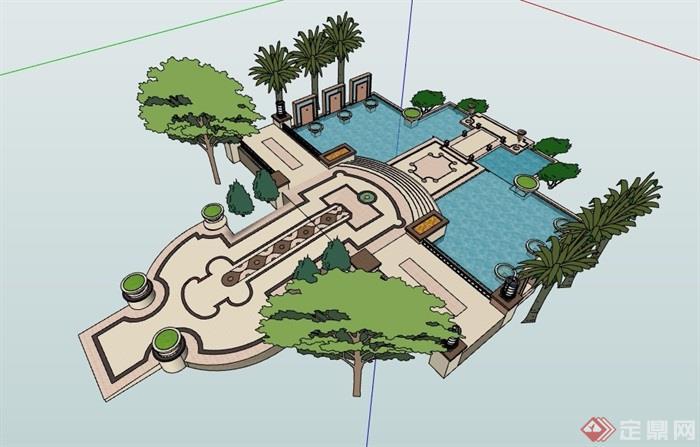 新古典详细完整的水池水景设计su模型