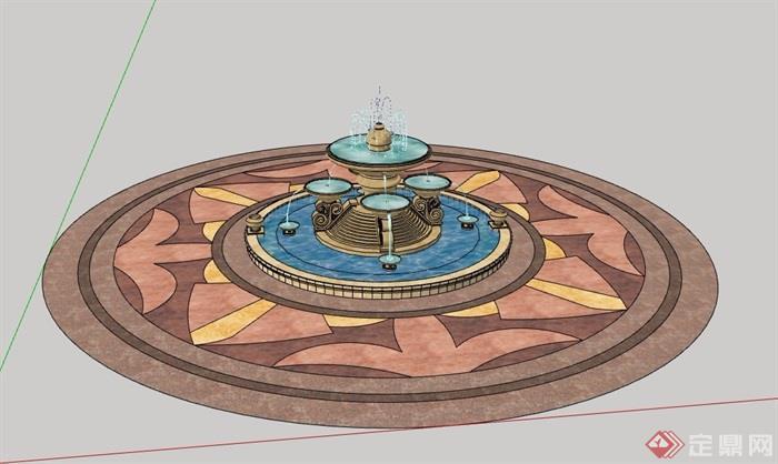 圆形经典的喷泉水池设计景观su模型