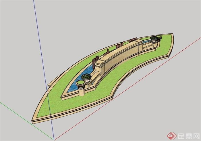 某水池景墙设计su模型