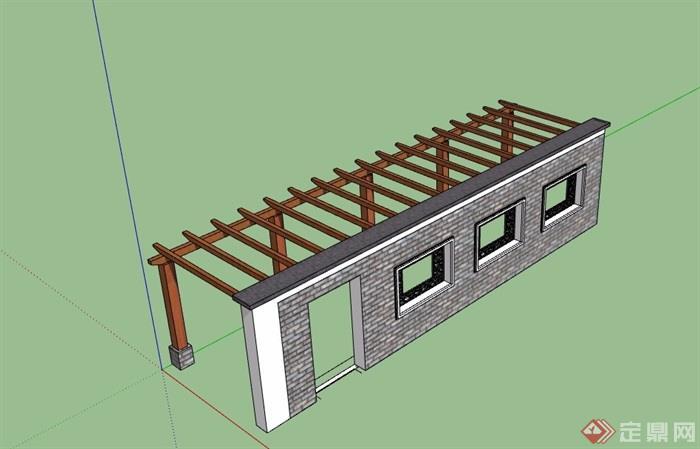 中式景墙廊架素材设计su模型