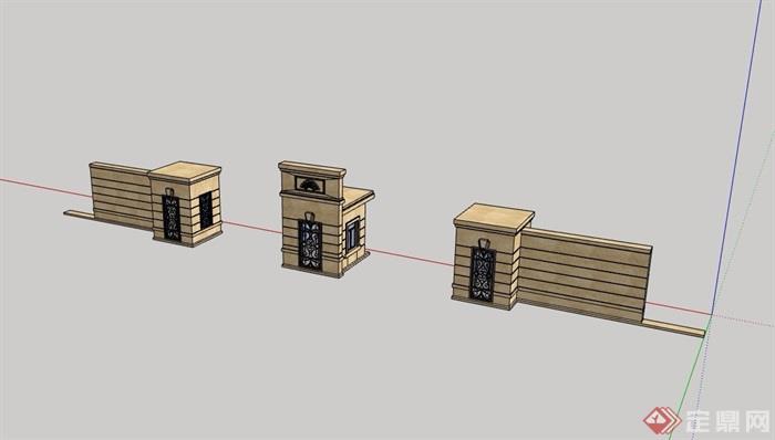 详细经典的景观门su模型