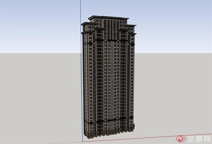 新古典风格完整的高层住宅楼素材su模型