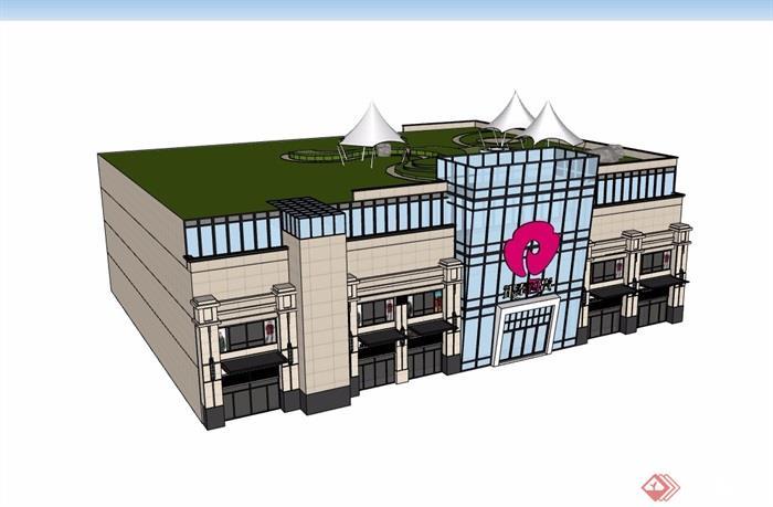 四层商城建筑楼设计su模型