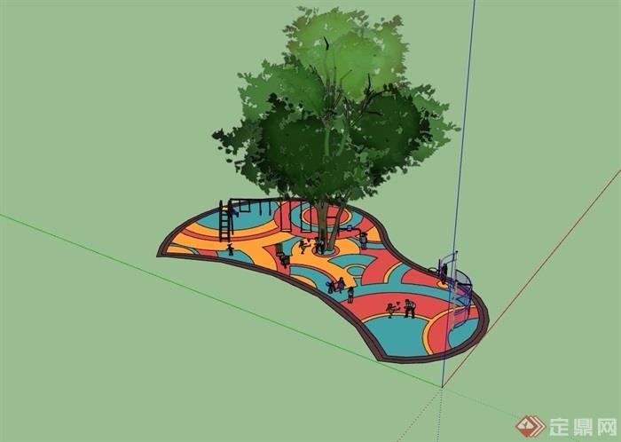 详细的游乐场地及游乐设施素材su模型